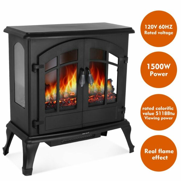 Black 1500W Free Standing Electric Stove Fireplace Fire Heater for Home