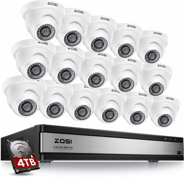 ZOSI 16Channel HDMI DVR Home CCTV Security Cameras System Outdoor Camera 2TB HDD