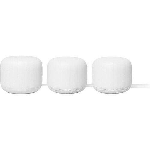 Google Nest Wifi System with Google Assistant 3-Pack Snow - 5400 square feet cov