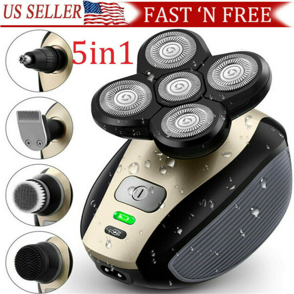 5 IN 1 4D Rotary Electric Shaver Rechargeable Bald Head Shaver Beard Trimmer $24.99