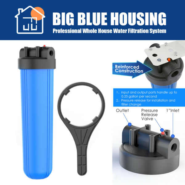 20quot; x 4.5 Household System Big Blue Water Filter Housing High Water Flow 1quot; FNPT