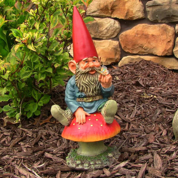 Sunnydaze Adam with Butterfly Gnome Statue - Outdoor Lawn and Garden Decor - 14