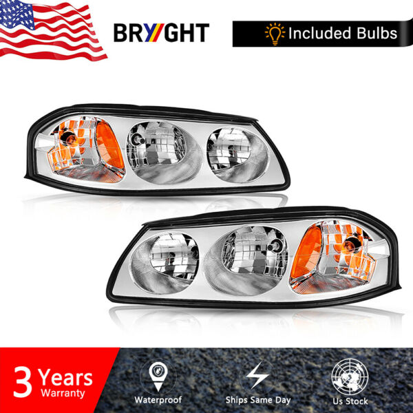For 2000-2005 Chevy Impala Chrome Headlights Replacement Kit Left+Right Assembly