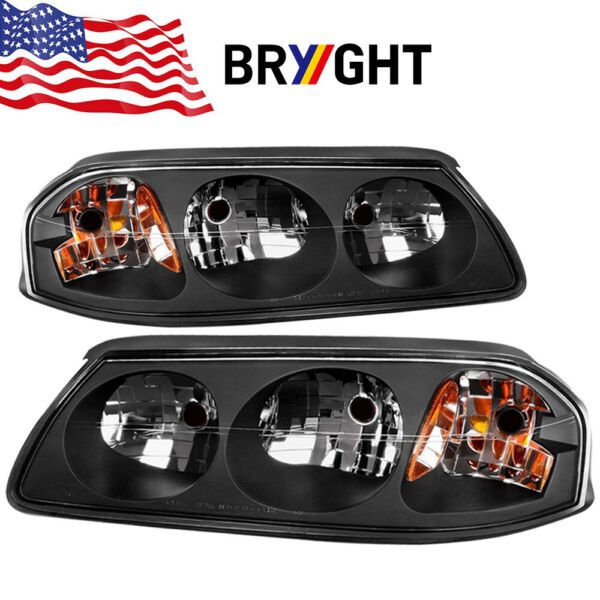 For 2000-2005 Chevy Impala SS LS Base Black Replacement Headlights Assembly Pair