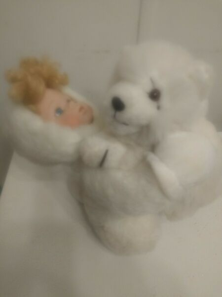 Porcelain doll white dog attachment embracing friendships love and admire friend $19.00