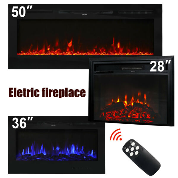 28''36''50'' Electric Fireplace Insert Heater Recessed Wall Mounted Remote