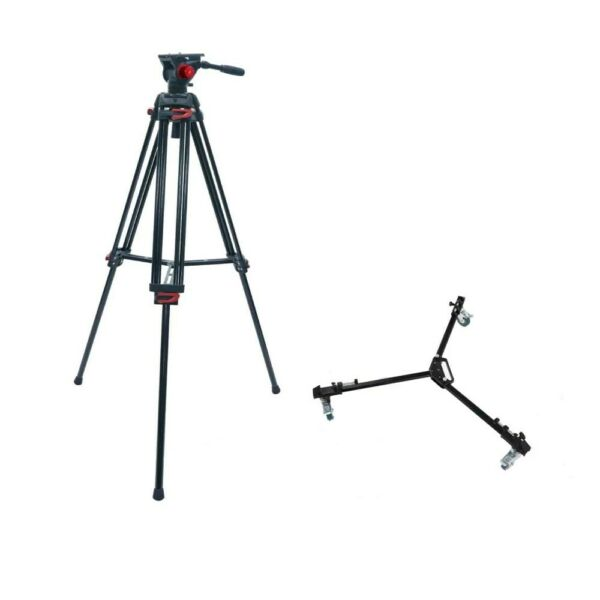 RedLine 7518 3 Professional Video Tripod with F18 3 Fluid Head D3 Tripod Dolly