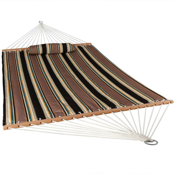 Sunnydaze 2 Person Quilted Hammock w Spreader Bars 450 lb Capacity Sandy Beach $69.95
