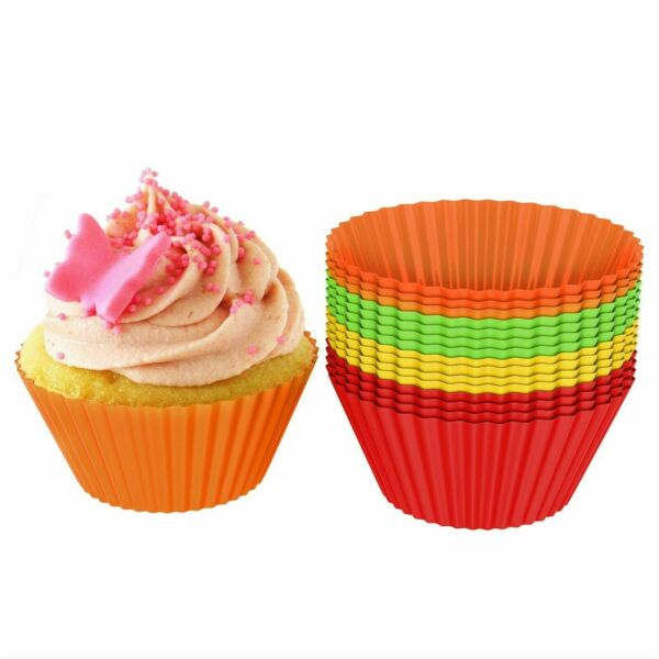 24 Silicone Baking Cups Muffin Molds Cupcake Bake ware Reusable BPA Free