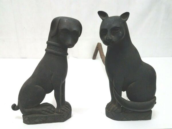 Cat & Dog Vintage Iron Andirons Fireplace Accessory Wood Stand Black Fire Dogs