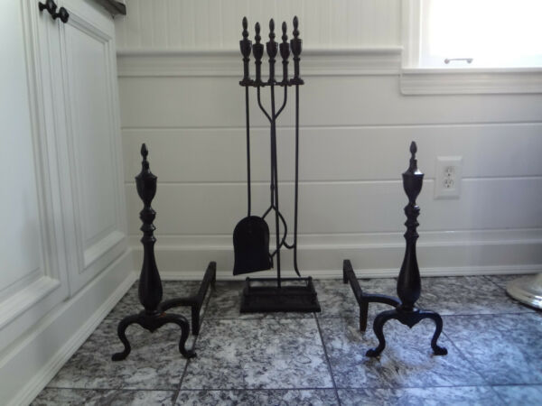 BRADLEY HUBBARD CAST IRON FIREPLACE TOOL SET WOOD LOG HOLDER URN FINIAL ANDIRONS