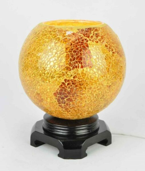 ELECTRIC OIL TART WARMER GOLDEN CRACKLED GLASS FRAGRANCE OIL NIGHTLIGHT   LARGE