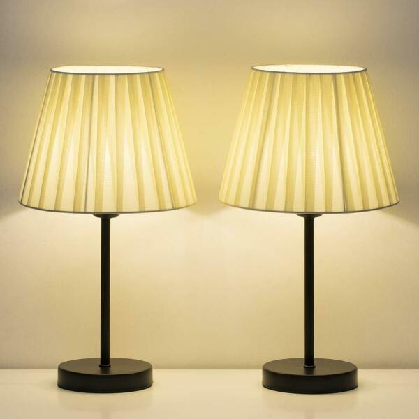 Set of 2 Small Nightstand Lamps with Beige Fabric Shade Bedside Desk Lamp Gifts