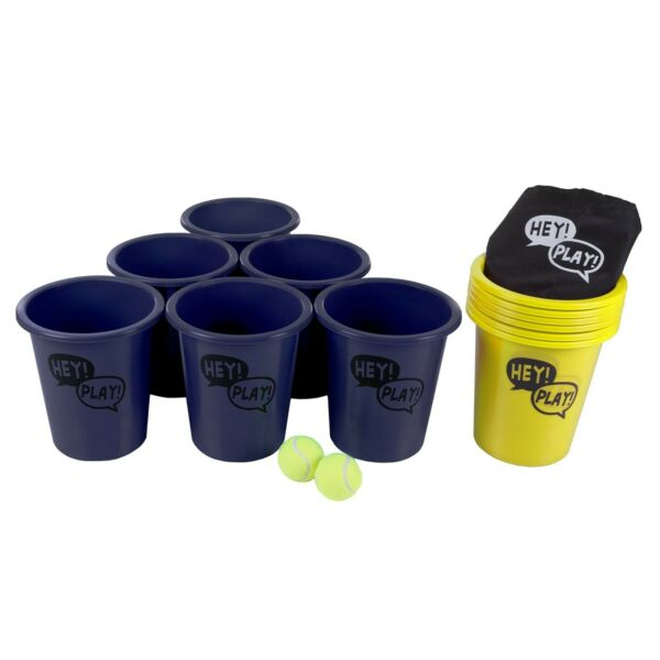 Giant Cup Pail Beer Pong Game Table Back Yard Lawn Beach Friendly Game Yellow
