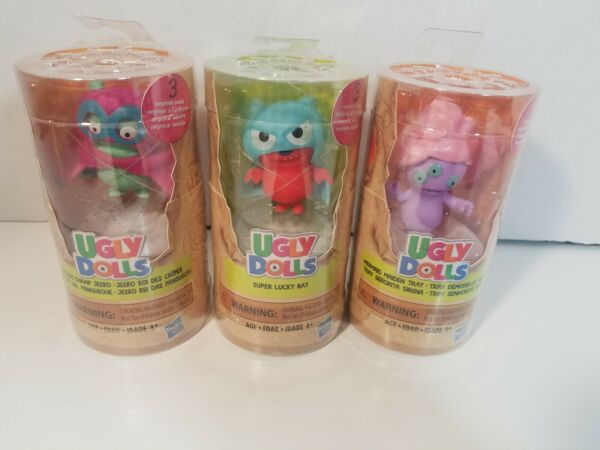 Ugly Dolls Surprise Tubes Figures Lucky Bat- Mermaid - Champ- Lot Set Of 3 New