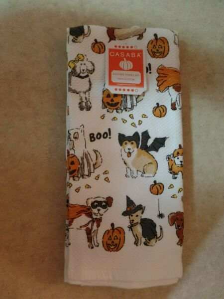 Casaba Halloween Dogs in Costumes Kitchen Towels 100% Cotton Set of 2 NEW $18.99