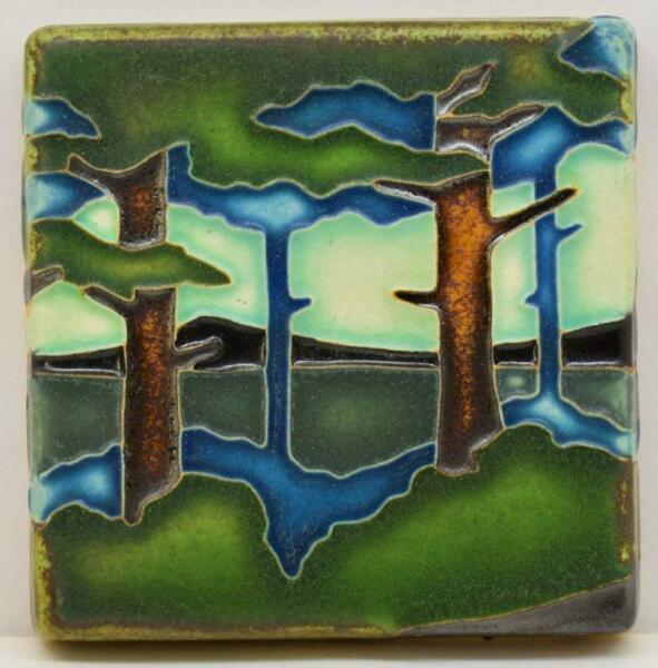 Arts and Crafts Motawi 4x4 Pine Landscape Tile (Valley)