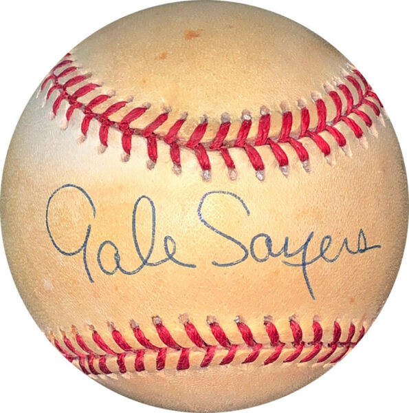 Gale Sayers signed ROAL Rawlings OFC American League Baseball toned-JSA #EE63077