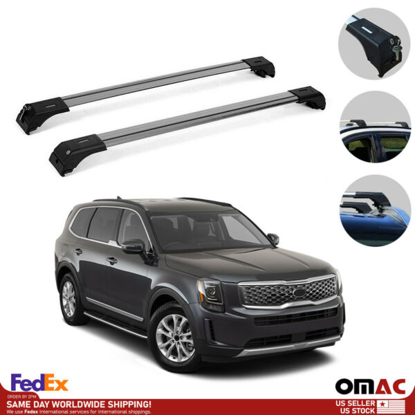 Roof Rack Cross Bars Luggage Carrier Set Silver for Kia Telluride 2020 2021 $93.42