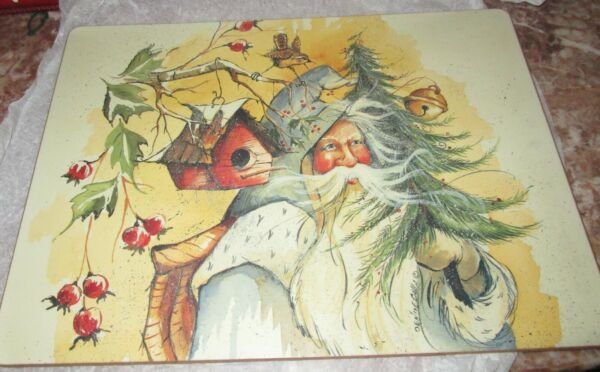 Vintage House of Hatten Denise Calla Placemat Cork Backing Santa