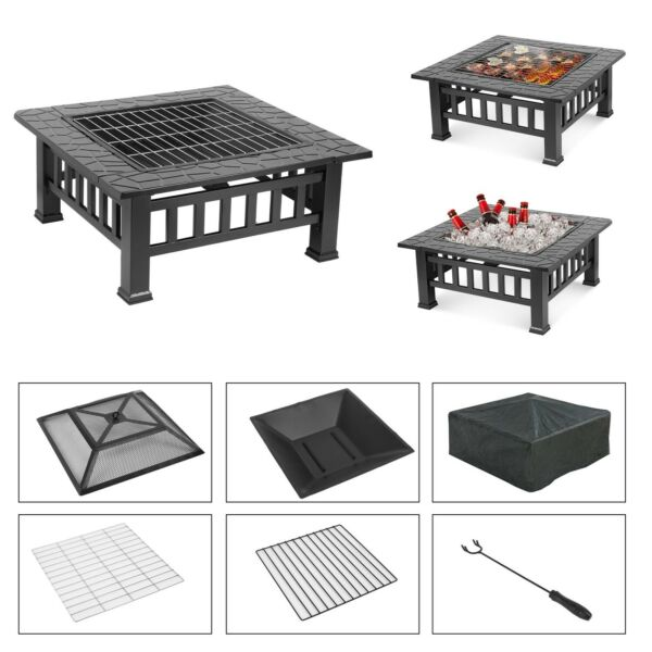 32''Wood Burning Square Fire Pit Outdoor Heater Backyard Patio Stove Fireplace