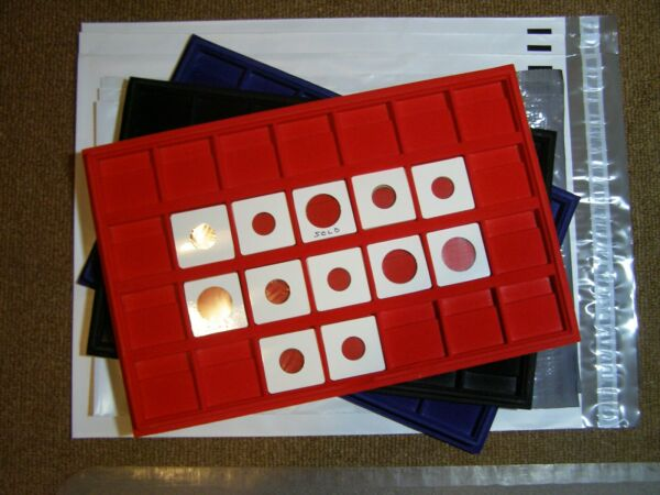 COIN DISPLAY TRAY (HORIZONTAL) 28 SLOTS FOR 2X2 (6) FREE POLY MAILERS INCLUDED
