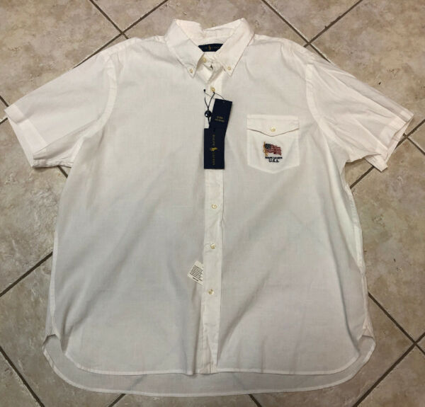 Polo Ralph Lauren Button Down Shirt Mens XXL White w US Flag Short Sleeves NWT