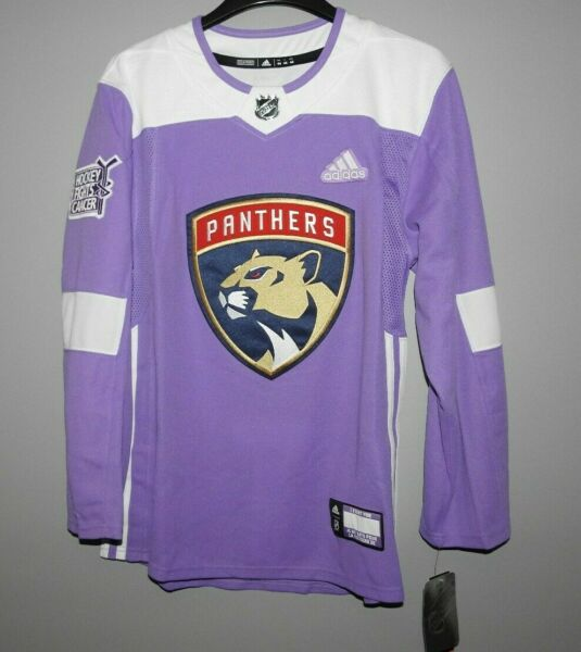 Authentic Adidas NHL Florida Panthers Hockey Fights Cancer Hockey Jersey New