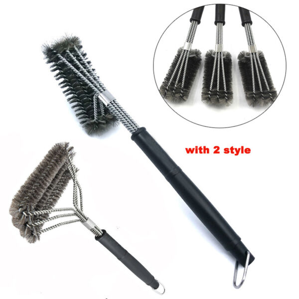 18quot; Barbecue BBQ Cleaning Grill Brush Cleaner Stainless Steel Kitchen Wire Brush