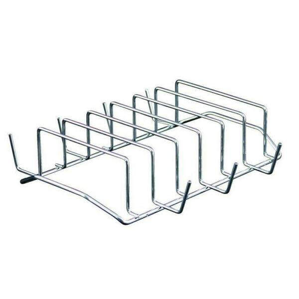 Rib Rack Bbq Grill Steel Outdoor Indoor Oven Smoker Barbecue Camp Accessory