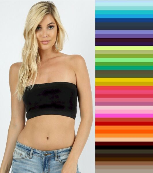 Tube Top Bra Seamless Bandeau Strapless Bralette Stretch Layering Solid Crop Top $5.95