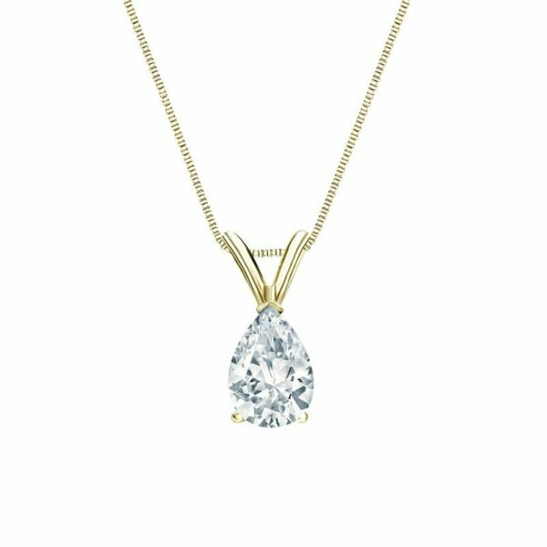 2 Ct Pear Brilliant Cut Solid 14k Yellow Gold Solitaire Pendant 18