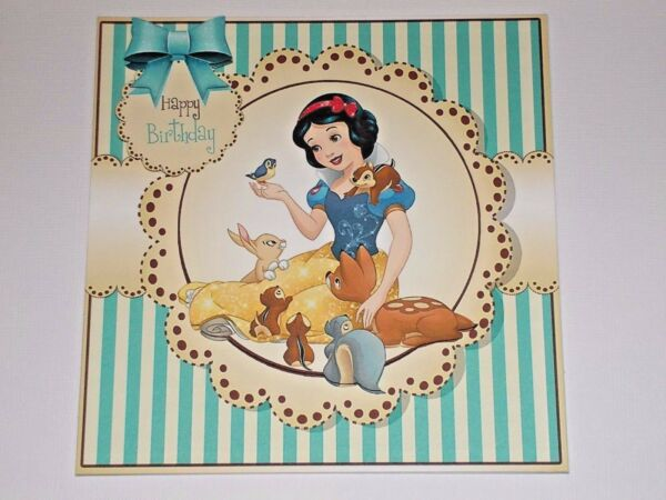 Handmade Greeting Card 3D Birthday With Snow White  Sentiment Inside
