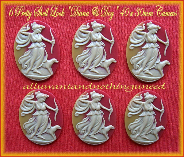 6 Unset IVORY color DIANA amp; DOG Shell Look 40mm x 30mm Costume Jewelry CAMEOS $5.49
