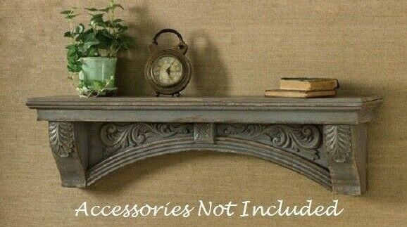 Farmhouse AGED GRAY MANTLE SHELF Wall Mounted Distressed Vintage Antique Style