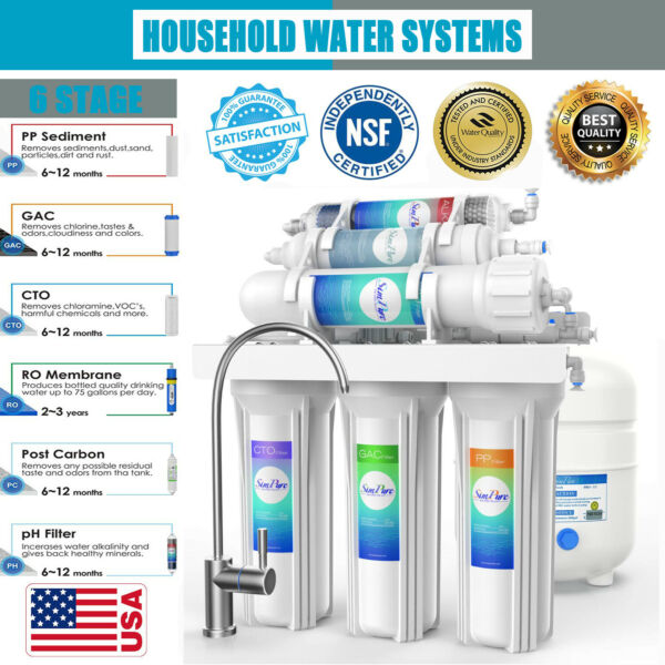 6 Stage PH Alkaline Reverse Osmosis Drinking Water Filter System Faucet Purifier $40.99
