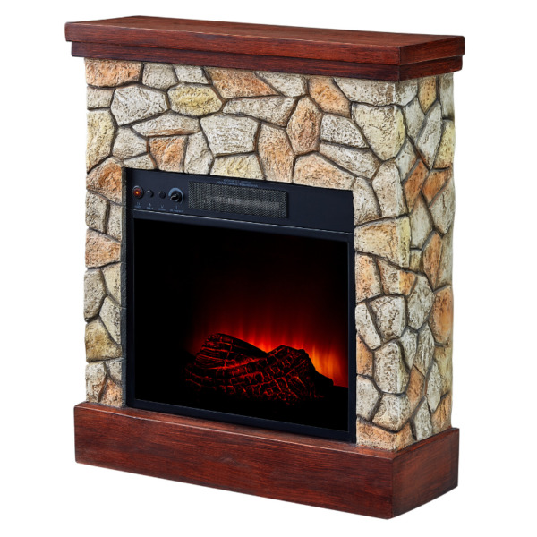 Electric Fireplace Heater Real Flame Stone Mantel TV Stand Wall Corner Realistic