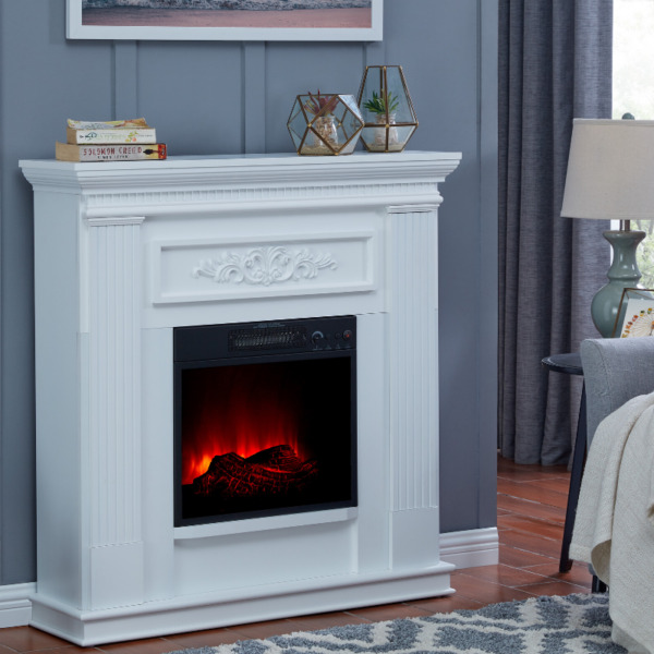Electric Fireplace Heater TV Stand Real Flame Mantel Realistic Corner Wall Stove