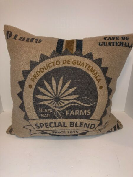 """Pair of Guatemala Coffee Blend Burlap Accent Pillow Covers 16""""x16"""""""