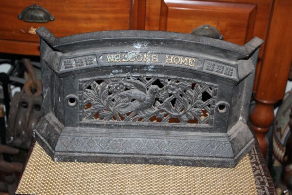 Cast Iron Fireplace Stove Heater Front Birds Flowers Welcome Home Home Hearth
