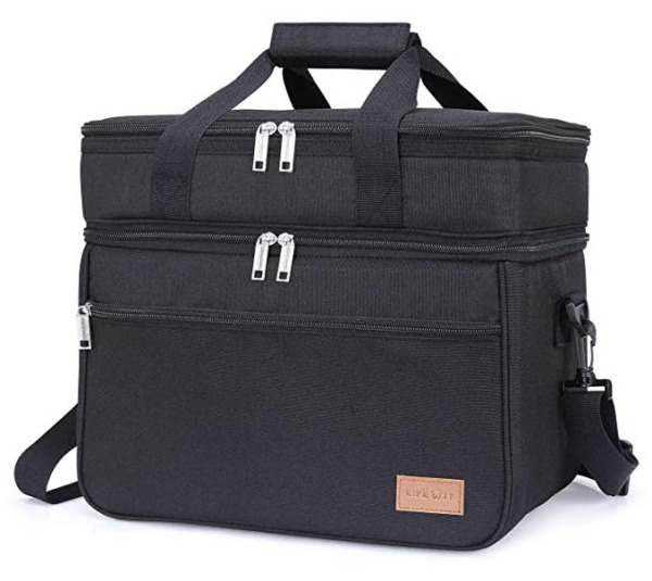 Insulated Dual Compartment Lunch Bag Leakproof Lunch Box Cooler Office School