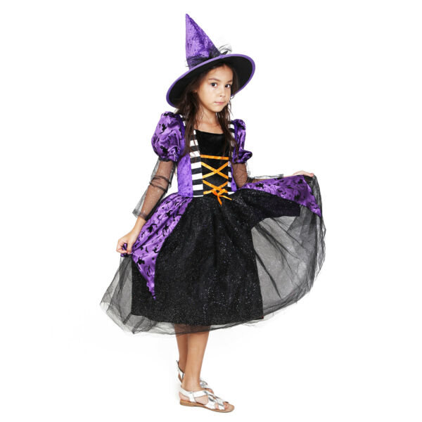 Witch costume girls Black Purple Deluxe Set Halloween Party $9.98