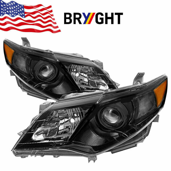 For 2012-2014 Toyota Camry [SE Style] Black Projector Headlights Left+Right 13