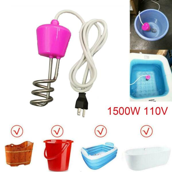 1500W 110V Water Heater Portable Electric Immersion Element Boiler For Bath Tub