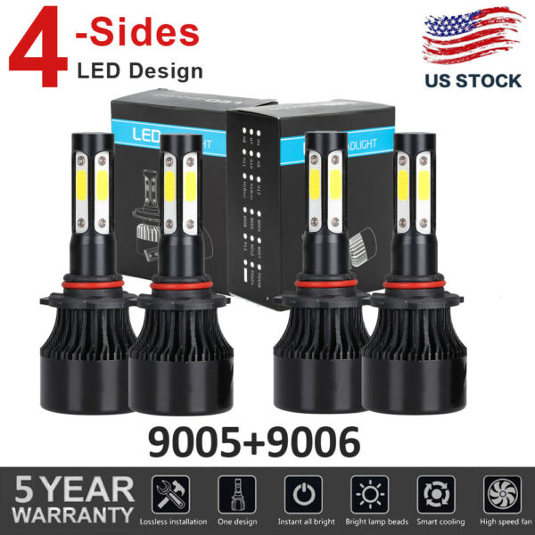 4Side 9005+9006 LED Headlight Bulbs For Dodge Charger 2006 2007 2008 2009 2010