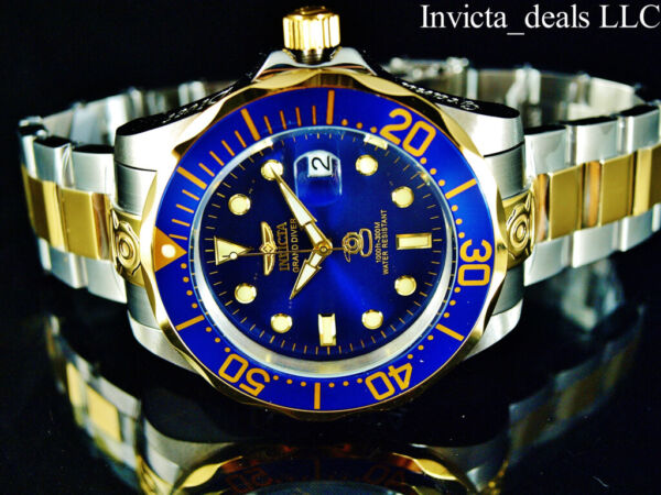 Invicta Men#x27;s 47mm GRAND DIVER Automatic Blue Dial Gold Plated Two Tone SS Watch $104.89