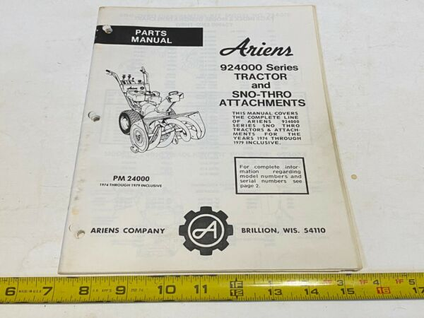 Vintage Ariens Parts Manual 924000 Series Tractor amp; Sno Thro Attachments 74 79