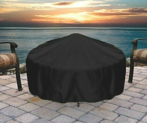 Sunnydaze Durable Round Fire Pit Cover - Long-Lasting PVC - Black - 48-Inch