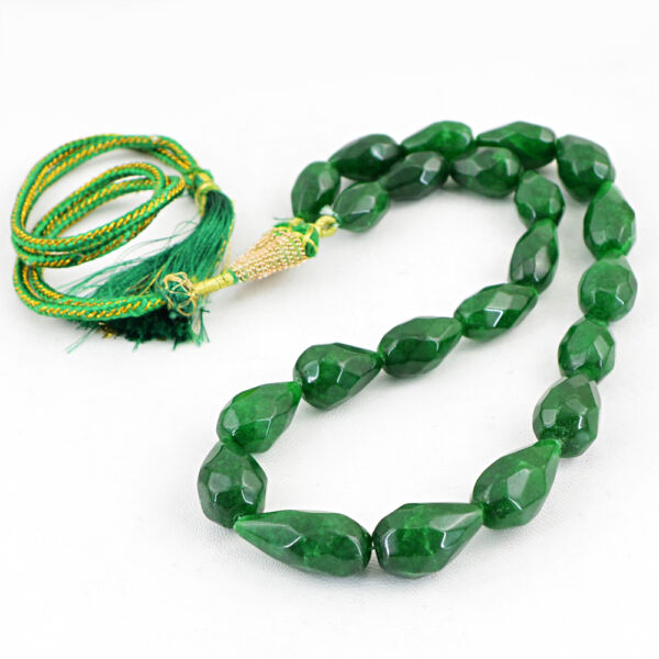 468.00 CTS EARTH MINED RICH GREEN EMERALD PEAR SHAPE FACETED BEADS NECKLACE (DG)