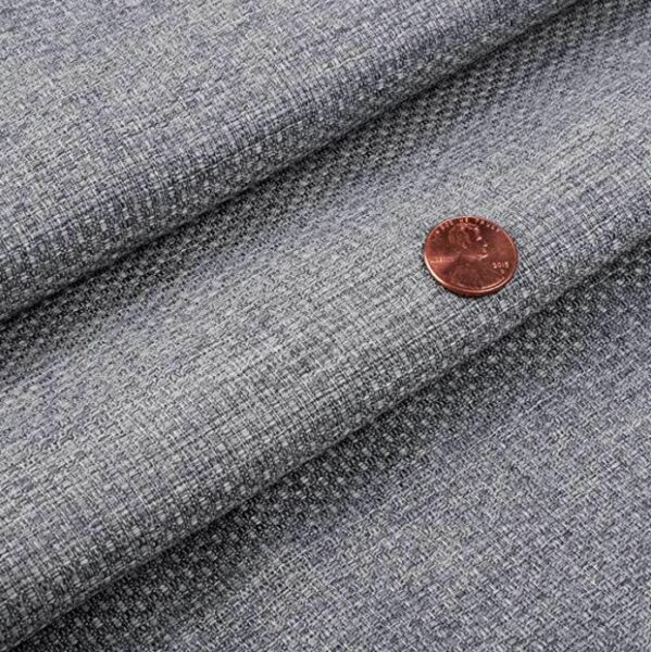 Heavyweight Solid Faux Linen Upholstery Drapery Fabric Perry Grey By the Yard